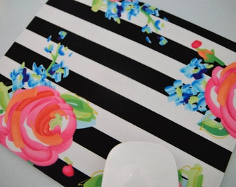 Buy 2 FREE SHIPPING Special!!   Mouse Pad, Computer Mouse Pad, Fabric Mousepad         Bright Roses on Stripes