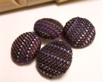 Handwoven Fabric Covered Buttons: Chocolate Covered Prunes