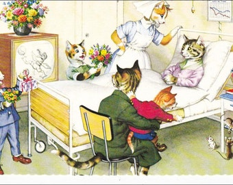 Mainzer postcard, Cat Family visits  hospital, Mainzer dressed cats,  Postcard no. 4931, vintage Alfred Mainzer postcard