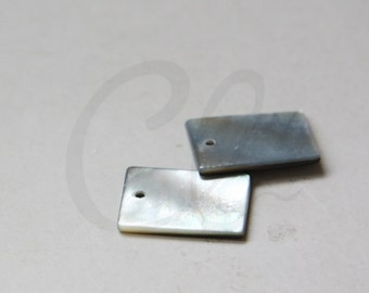 Two Pieces Natural Shell Beads - Bar - Rectangle - 10x20mm (180)