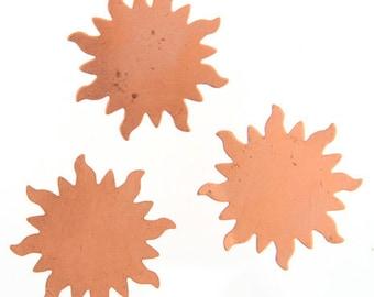 2pcs Copper Metal Blank-Stamp on - Metal stamping - Sun 32mm (210302)