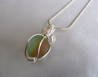 Sea Glass Rainbow Marble Pendant - Green, Orange and Yellow Marble