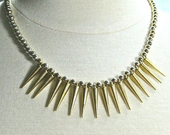 Gold Spikes Necklace, Gold Spikes Statement Necklace, gold bib necklace