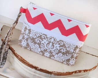 Grey Damask and  Pink Chevron Wristlet Zipper Clutch Purse -Cell Phone Wallet - Cell Phone Sleeve for iphone, samsung, blackberry, and more
