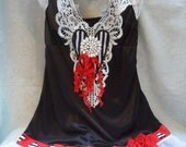 MidWinter Sale 20% Off TUNIC Tank Cami Valentines Day Altered Clothing - Vintage Cami Make Over - Black, White & Red