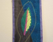 Mini Art quilt OOAK -- yellow and green leaf (blue and brown background)