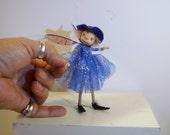 ooak poseable  timid sugar plum PIXIE fairy ROYAL BLUE color elf ( #46 ) polymer clay art doll by DinkyDarlings