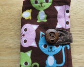 Tea Wallet in Pink, Aqua, Green, and Yellow Cats on Brown, Tea Bag Holder