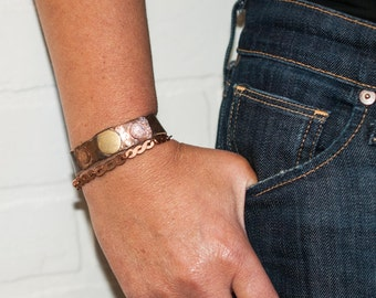 recycled copper wrap bracelet, cuff, copper jewelry, copper bracelet, leather cuff, stacylynnc, handmade, chain, copper chain, magnetic snap