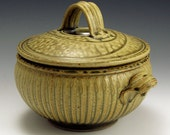 Hand Thrown, Stoneware, Ovenware, Microwaveable, Two Quart, Striped Ash-Glazed Casserole, FREE SHIPPING