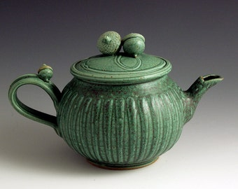 Wheel- Thrown, Stoneware, Green Stripes Teapot
