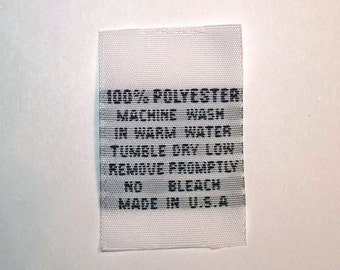 100% Polyester Woven Clothing Care Labels Wash Warm (Qty 50) WP-Warm