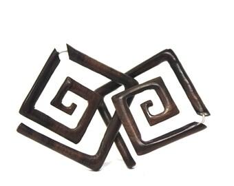 Fake Gauge Earrings ,Wood ,Organic, tribal style, Earrings ,Tribal, Expander, Split,hand carved,fake piercing,naturally