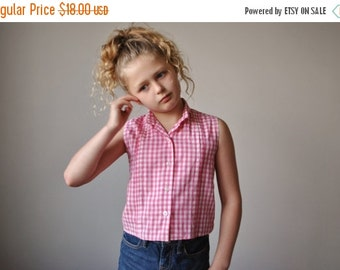 ON SALE 1960s Pink Gingham Blouse~Size 6
