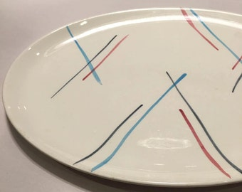 Sale - Retro platter midcentury handprinted by Stetson