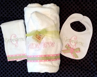 Monogrammed Hooded Towel and optional bib and burp cloth - Light Pink and Green