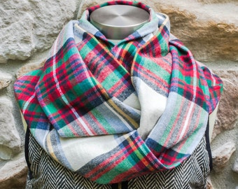 NEW Blue, Green, Red & Yellow Tartan Plaid Flannel Infinity Scarf, Toddler Infinity Scarf, Girl Infinity Scarf, Child Infinity Scarf