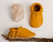 BASICS//Marigold Mustard Moccs Fringe Soft Soled Leather Moccasins Shoes Baby and Toddler  Free Ship in US
