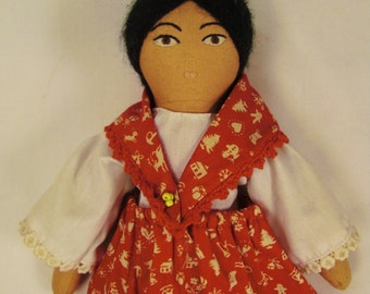 NAVAJO Cloth DOLL SOUTHWESTERN Handcrafted 13 x7 x2 in folk art calico dress