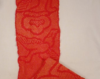 Authentic SHIBORI BIRDS figural long scarf JAPAN red and white stunning 55 x 9.5 in excellent condition