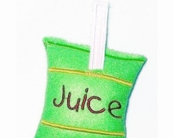 SALE Play food Pretend food  felt juice pouch with straw great for kids play kitchen