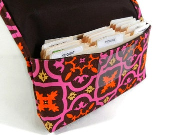 Coupon Organizer, Coupon Holder, Coupon Wallet, Receipt Holder Pink and Chocolate