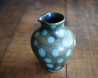 Vintage Studio Pottery Ewer Aqua Polka Dots Dark Green Glaze Body Fall Decor Modern Accent Small Vase