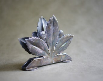 Vintage Wellner Napkin Holder Business Card or Letter Holder Strawberry and Leaf Design Made in Germany Silver Plate