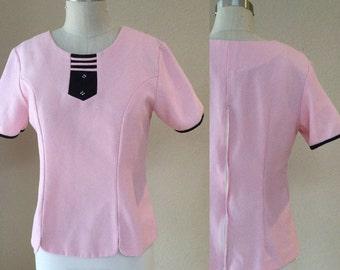 Vintage Pink and Black 50's shirt. Car Hop, Pin Up, Rockabilly top