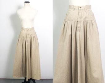 VTG 80's Khakie Prairie Skirt (Small) Full Peasant Canvas High Waist Tan Circle Skirt Vintage Pockets Gypsy Jean Ruffles