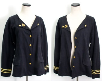 VTG 90's Navy Military Style Sailor Cardigan (Medium / Large) Black & Gold Ribbon Trim Metal Button Up Knit Sergeant Peppers Nautical