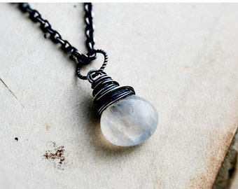 ON SALE Moonstone Necklace, Moonstone Jewelry, Rainbow Moonstone, Sterling Silver, Moon Necklace, Wire Wrapped, Gemstone Pendant, PoleStar
