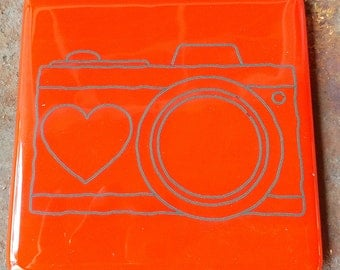 Coaster - Fused glass - Camera - bright red