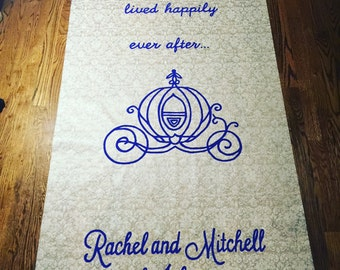 "FREE RUSH SPECIAL Handpainted ""And They Lived Happily Ever After"" with Carriage and Monogram Wedding Aisle Runner"