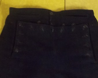 Vintage navy sailor pants front flap anchor buttons laced up back center 30 to 32 x 26