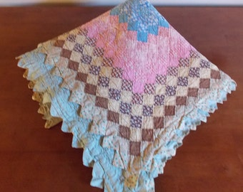 Vintage home made hand quilted quilt tiny squares prints and solids
