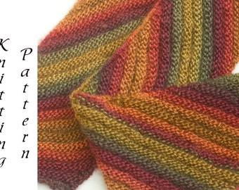 Scarf Knitting Pattern, Knit Scarf Pattern,  Instant Download,  PDF Pattern