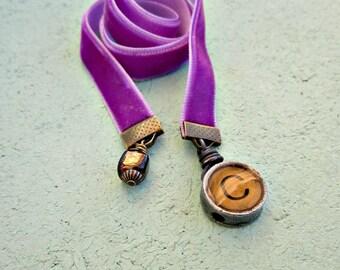Beaded Purple Velvet Ribbon Bookmark with Typewriter Key Style Letter Choose Your Letter: Tribune