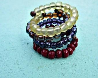 Wrap Rings Chunky Glass Beaded, Adjustable Stackable Memory Wire, Choose Your Color: Constantinople