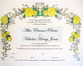 Roses II- Quaker Marriage Certificate