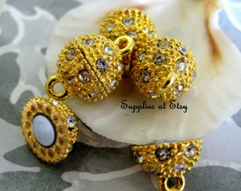Sale FROM USA- Fine Gold plated Rhinestone Magnetic pave clasp-Strong Magnetic  clasp-Jewelry finding, supplies-pave Rhinestone Connector