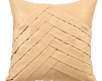 Cream Couch Cushion Covers 16 x 16 Pillow Covers Suede Pleated Decorative Pillows - Cream No Limits No Lines