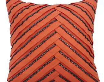 Orange Couch Cushion Covers 16 x 16 Pillow Covers Orange Suede Pleated Crytal Embroidered Decorative Pillow Case - Smoked Salmon