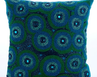 Blue Decorative Throw Pillow Covers Accent Pillow Couch Sofa Toss Bed 16 x 16 Blue Silk Pillow Cover with Bead Embroidered Sea Tornado