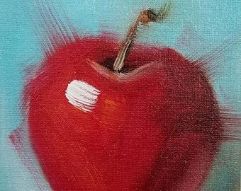 ACEO Original Oil Painting, Apple, Easel Art, Wall Decor, Kitchen Art, Food Art, Small Format Art