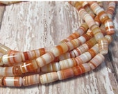 25% Off SALE Showy Rare Banded Natural Red Sardonyx Carnelian Beads, Calibrated 7mm x 12mm Barrel Tube Beads,