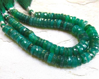 Mystic Emerald Green Onyx Beads  Slice Rondelle Beads, 9mm 10mm Large Gemstone Beads
