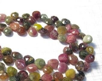 25% Off SALE Natural Pink Green Tourmaline Briolette Beads, 6.5mm 7mm