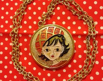 Vintage Japan Showa Era Retro Girl Rune Naito Pendant Necklace With Mirror Gold Tone Chain
