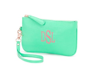 Personalized Leather-like Wristlet, Clutch Purse, Monogrammed Wallet, Cell phone holder